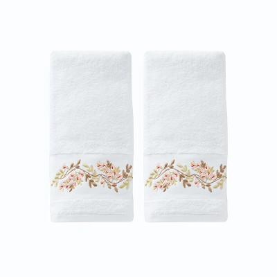 2pc Misty Floral Hand Towel Set White - Saturday Knight Ltd.