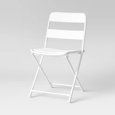 Metal Slat Patio Folding Chair - White - Room Essentials™