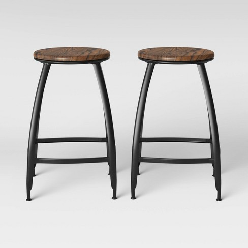 Tremendous Bethlehem Set Of 2 Metal Wood Seat Counter Stool Black Threshold Squirreltailoven Fun Painted Chair Ideas Images Squirreltailovenorg