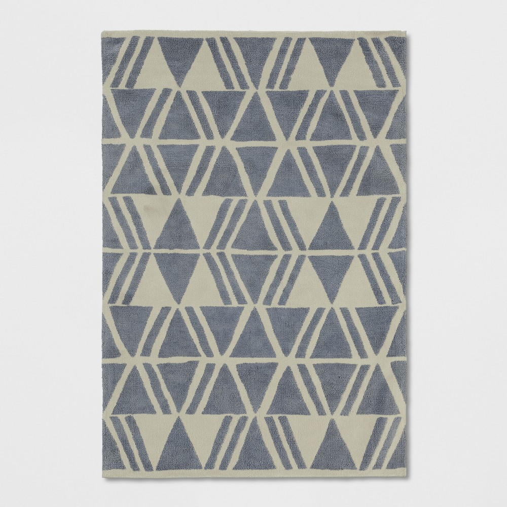 Light Gray Tribal Design Tufted Area Rug 5'X7' - Project 62