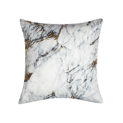 20 x20  Precious Metals Collection Printed Marble Square Pillow White - Edie@Home