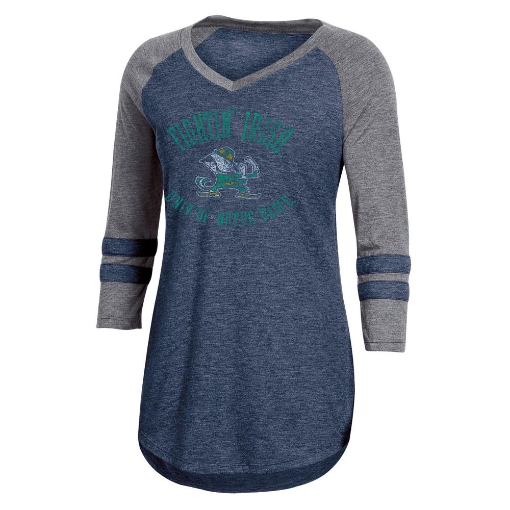 NCAA Women's 3/4 Sleeve V-Neck T-Shirt Notre Dame Fighting Irish - M, Multicolored