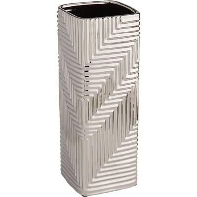 """Studio 55D Pure Silver Plating Texture 16 1/4"""" High Ceramic Vase"""