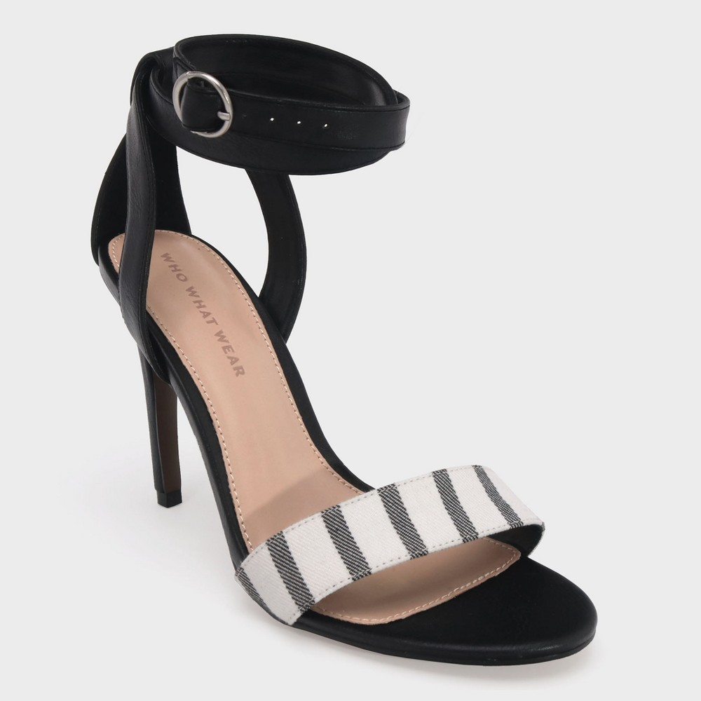 Women's Sandra Striped Wrap Heeled Pumps - Who What Wear Black 6