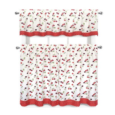 GoodGram Cherries & Polka Dots Complete 3 Piece Kitchen Curtain Tier & Valance Set - 58 in. W x 14 in. L