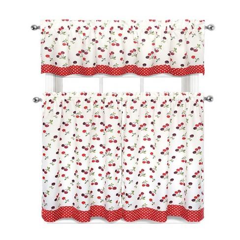 GoodGram Cherries & Polka Dots Complete 3 Pc. Kitchen Curtain Tier & Valance Set - - image 1 of 1
