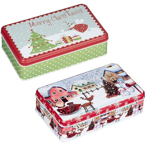 """Juvale 2-Piece Christmas Tin Gift Box, Rectangular Cookie Tin Candy Storage Containers with Lid 7.5""""x4.5""""x2.1"""", Red/Green - image 1 of 3"""