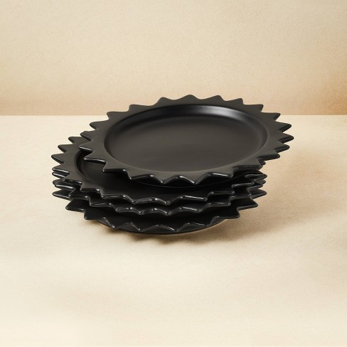 "8"" 4pk Stoneware Pointed Sun Salad Plates Black - Opalhouse™ designed with Jungalow™ - image 1 of 4"