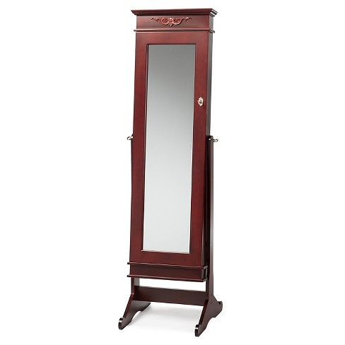 . Bimini Wood Crown Molding Top Free Standing Full Length Cheval Mirror  Jewelry Armoire   Brown Finish   Baxton Studio
