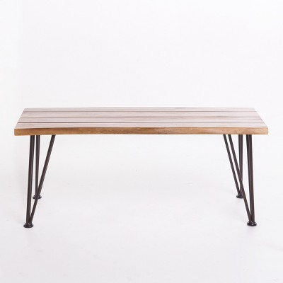 Zion Industrial Coffee Table - Teak/Rustic Metal - Christopher Knight Home