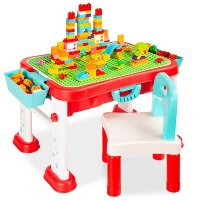 Best Choice Products Kids 8-in-1 Activity Table, Mobile, Collapsible Building Block Station w/ Dry Erase Easel, Storage