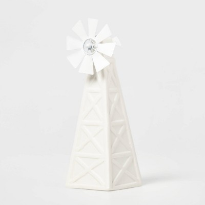 Ceramic Windmill Decorative Figurine White - Wondershop™