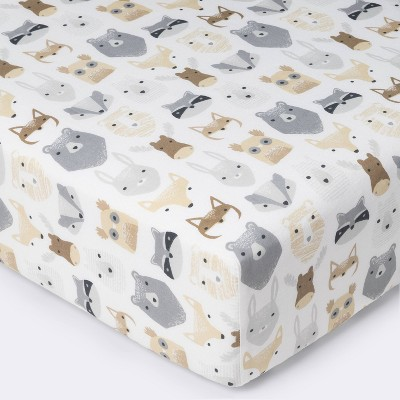 Crib Fitted Sheet Woodland Animals - Cloud Island™ Gray/White