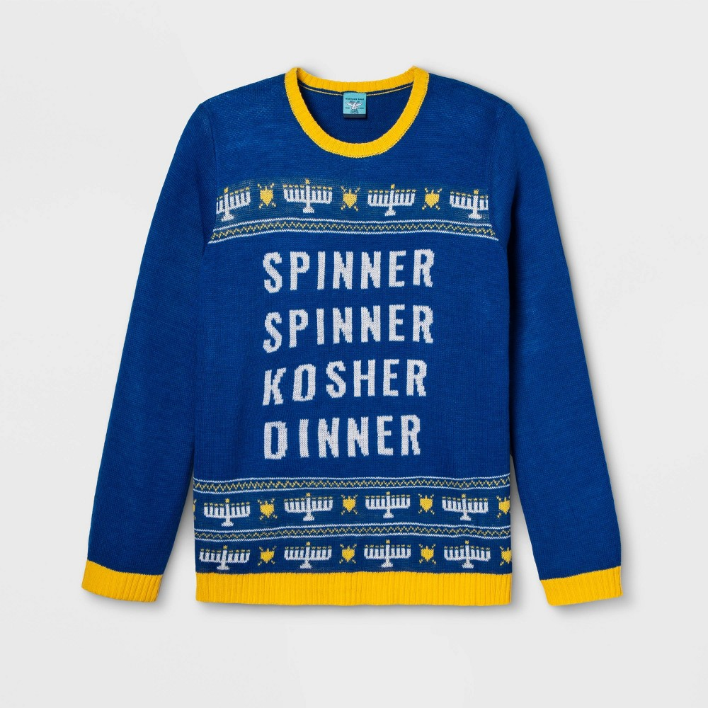 Image of Gender Inclusive Spinner Spinner Kosher Dinner Plus Size Sweater - Blue 1X, Adult Unisex, Size: 1XL