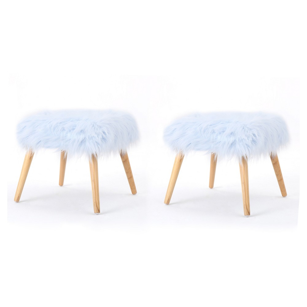 Huxley Faux Fur Ottoman (Set of 2) - Light Blue - Christopher Knight Home