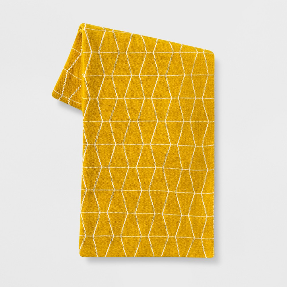 Reversible Knit Geo Throw Blanket Yellow/White - Project 62
