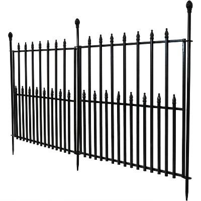 Sunnydaze Outdoor Lawn and Garden Metal Spear Topped Decorative Border Fence Panel Set - 6' - Black - 2pk