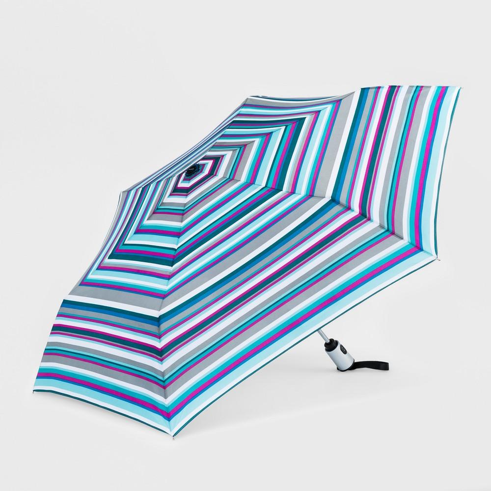 Image of Cirra by ShedRain Women's Striped Auto Open Auto Close Compact Umbrella - White, Size: Small