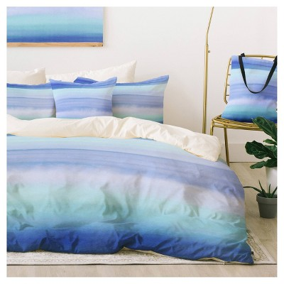 Blue Amy Sia Ombre Watercolor Duvet Cover Set (Twin XL) - Deny Designs