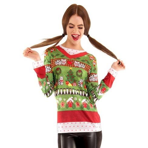 Ugly Christmas Sweater Cat.Women S Costume Ugly Christmas Sweater Cats Long Sleeve Tee