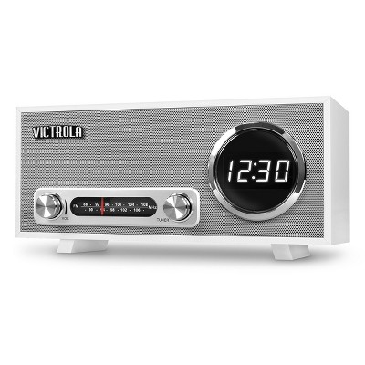 Victrola VC-100 Bluetooth Digital Clock Stereo with FM Radio and USB Charging