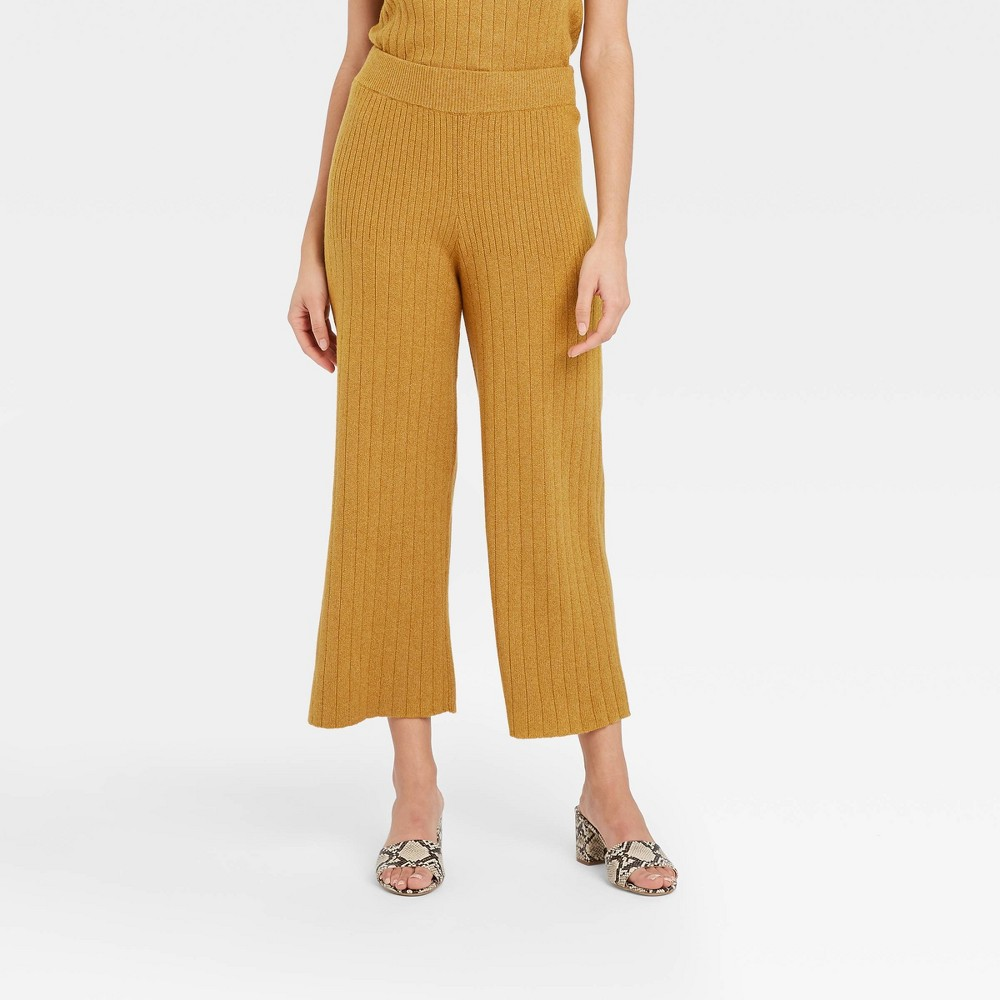 70s Clothes | Hippie Clothes & Outfits Womens High-Rise Wide Leg Lounge Pants - Who What Wear Yellow XXL $32.99 AT vintagedancer.com