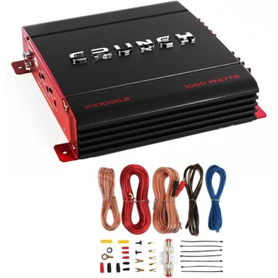 Crunch PX-1000.2 PowerX 1000-Watt 2 Channel Class A/B 2 Ohm Car Audio Stereo Amplifier and Complete 8-Gauge Amp Installation Wiring Kit