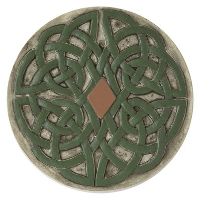 Transpac Stone 10 in. Green St. Patrick's Day Celtic Garden Stone
