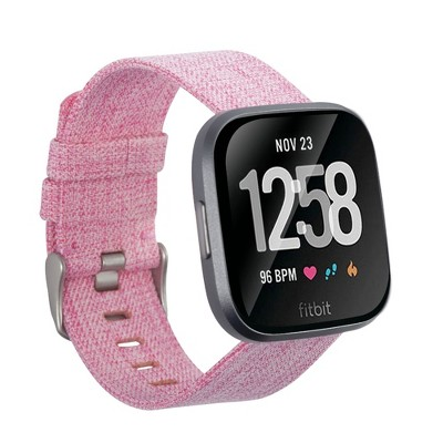 Insten Canvas Woven Fabric Band for Fitbit Versa 2 / 1 / Lite / SE, Replacement Strap, Rose Red