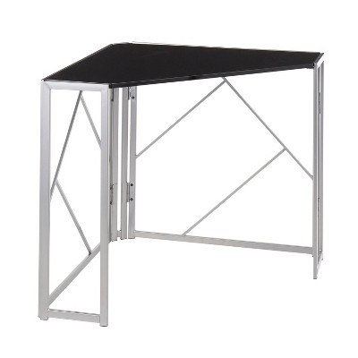 Folia Corner Desk Silver/Black - LumiSource