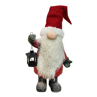 """Northlight 20"""" Red and White Santa Gnome with Lantern Christmas Decor"""