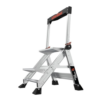 Little Giant Ladder Systems 2-step ANSI Type IAA 375 lb rated Aluminum Stepstool with handrail Gray