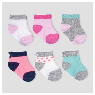 Baby Girls' 6pk Bow Ankle Socks - Just One You™ Made by Carter's® Multicolor 0-3M
