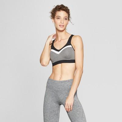 Women's Power Shape Medium Support Sports Bra - C9 Champion® Black Heather/White S