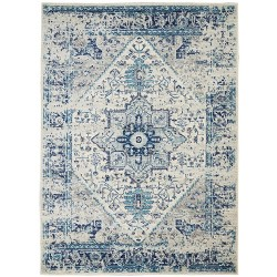 Nourison Tranquil TRA06 Ivory/Light Blue Indoor Area Rug 6' x 9'