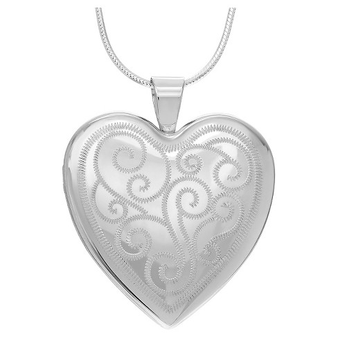 "Women's Journee Collection Swirl Heart Locket Pendant Necklace in Sterling Silver - Silver (20"") - image 1 of 2"
