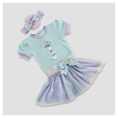 Baby Aspen Girls' My First Birthday 3pc Party Outfit with Tutu - 12-18M