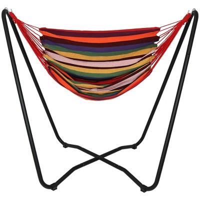 Hammock Chair Swing And Stand Set   Sunset   Sunnydaze Decor