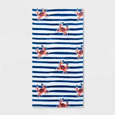 Crab Striped Beach Towel Blue/White - Sun Squad™