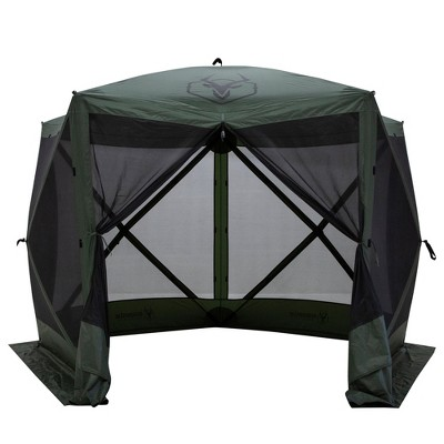 Gazelle GG500GR 4 Person 5 Sided Outdoor Portable Pop Up Water and UV Resistant Gazebo Screened Tent with Carry Bag and Stakes, Alpine Green