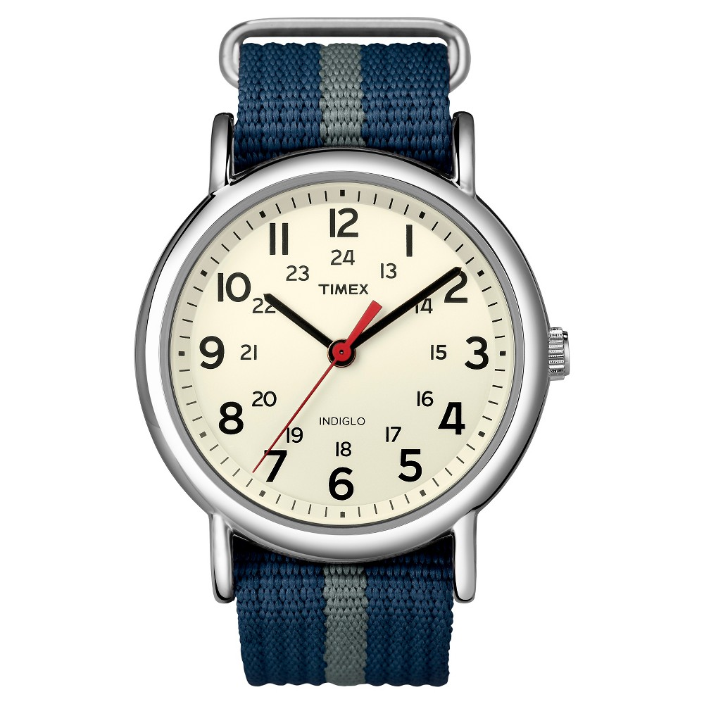 Image of Timex Weekender Slip Thru Nylon Strap Watch with Silvertone Case - Blue/Gray T2N654JT, Adult Unisex