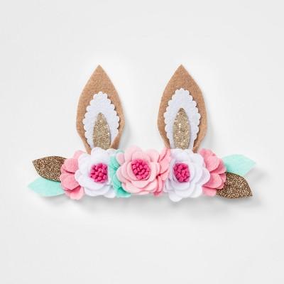Toddler Girls' Bunny Ears & Flowers Headwrap - Cat & Jack™ White