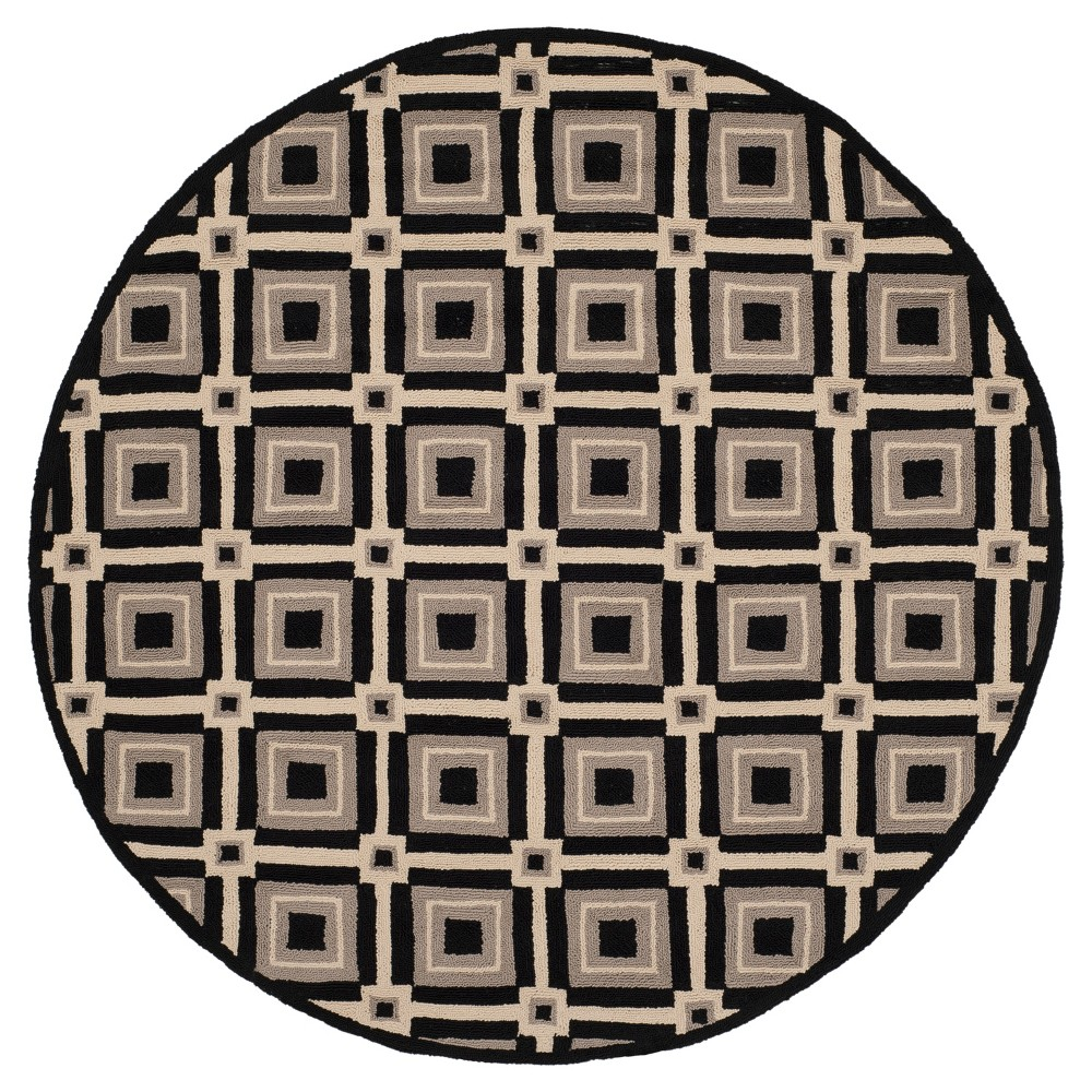 Black/Gray Abstract Hooked Round Area Rug - (6' Round) - Safavieh