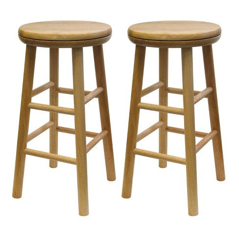 24 Oakley 2pc Swivel Seat Bar Stool Set Beech Winsome Target