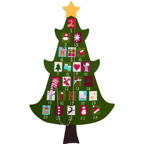 Transpac Fabric 52 in. Green Christmas Tree Advent Calendar - image 1 of 1