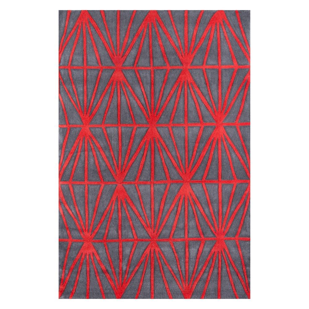5'X7'6 Geometric Tufted Area Rug Red - Momeni