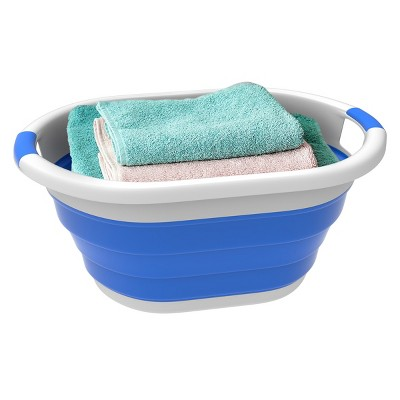 Collapsible Laundry Basket- Space Saving Pop Up Clothes, Multiuse Organizer/Storage Container with Comfort Grip Handles by Hastings Home (Blue)