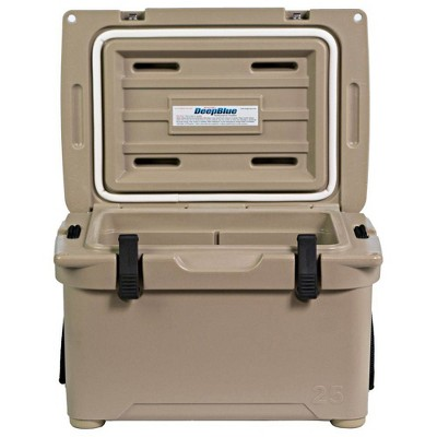 Engel 25 High Performance 5.28 Gallon 24 Can Roto Molded Ice Chest Cooler, Tan
