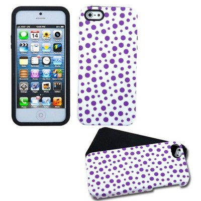 MYBAT For Apple iPhone 5/5S/SE Purple Polka Dots Fusion Hard Hybrid Case Cover