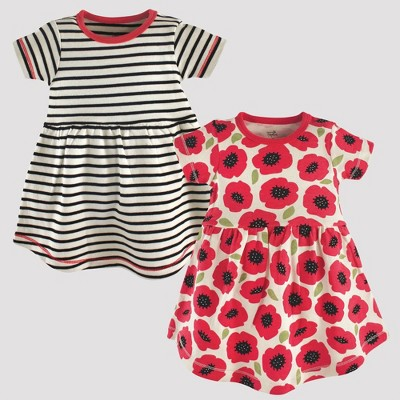 Touched by Nature Baby Girls' 2pk Stripped & Poppy Floral Organic Cotton Dress - Off White/Red 12-18M